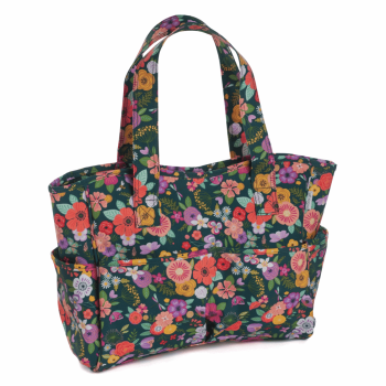 CRAFT BAG PVC 'FLORAL GARDEN GREEN' DESIGN