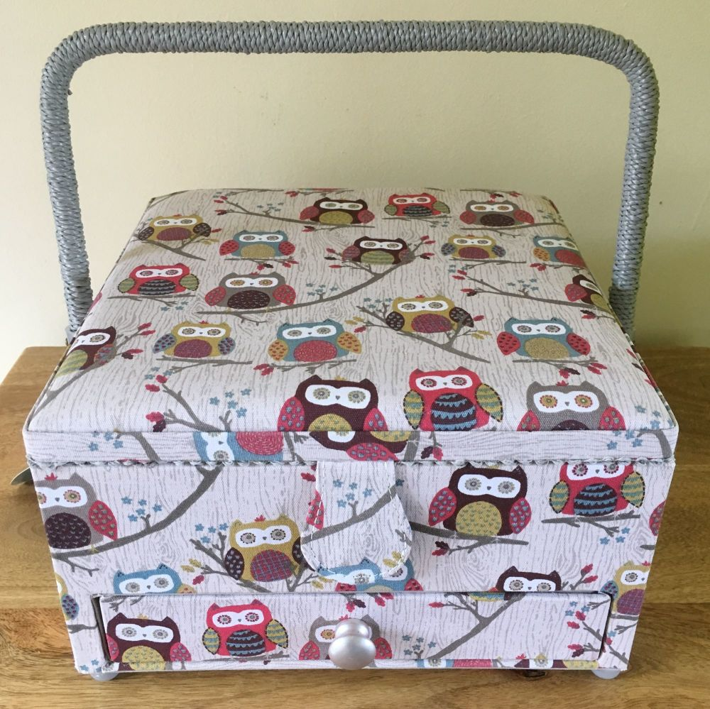 SEWING BASKET 'HOOT' DESIGN WITH DRAWER