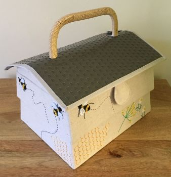 SMALL SEWING BASKET 'BEE HIVE' DESIGN