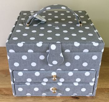 LARGE SEWING BASKET 'GREY SPOT' DESIGN WITH 2 DRAWERS