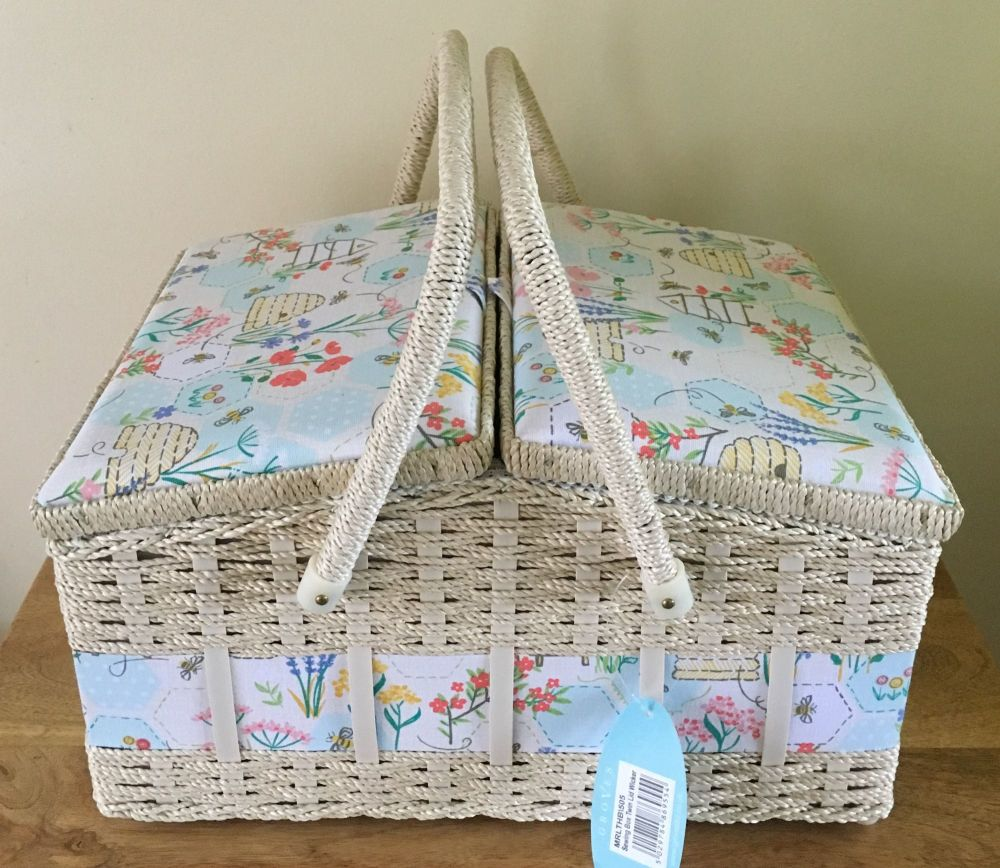 LARGE SEWING BASKET 'SEWING BEE' DESIGN TWIN LID