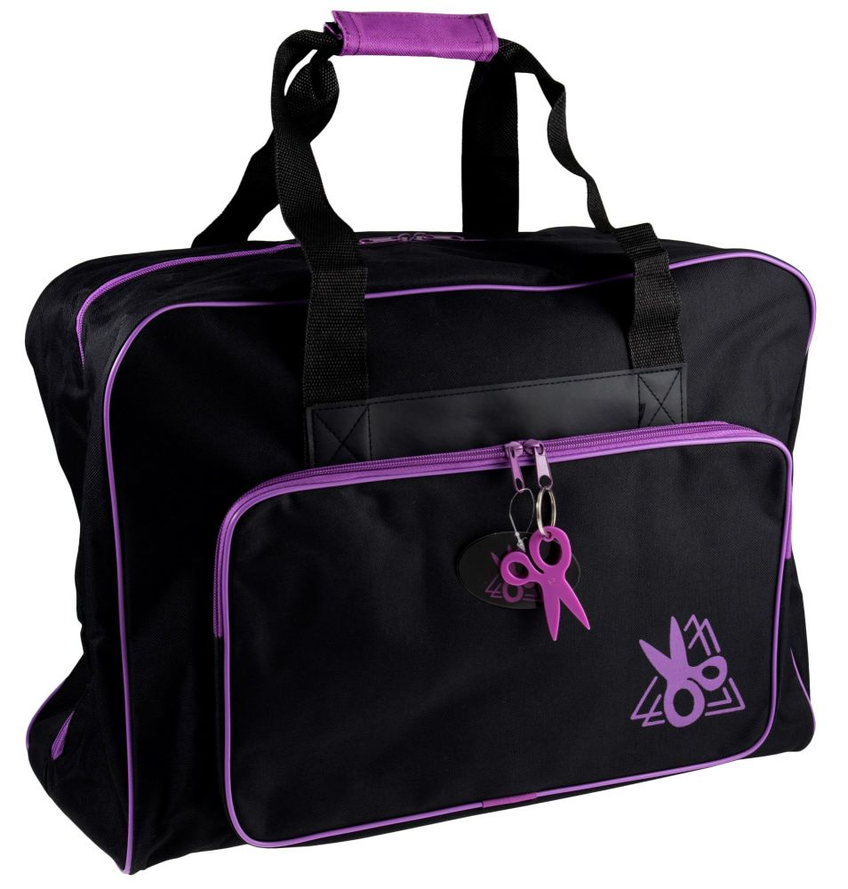 SEWING MACHINE CARRY BAG BLACK WITH PURPLE TRIM