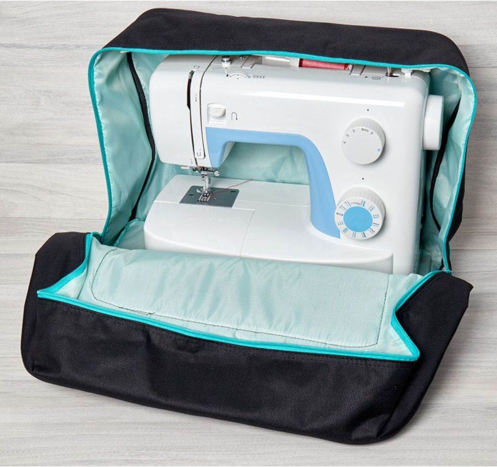 SEWING MACHINE CARRY BAG BLACK WITH TURQUOISE TRIM