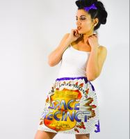 One Off Retro Skirt ft. Space Precinct, size 6-12