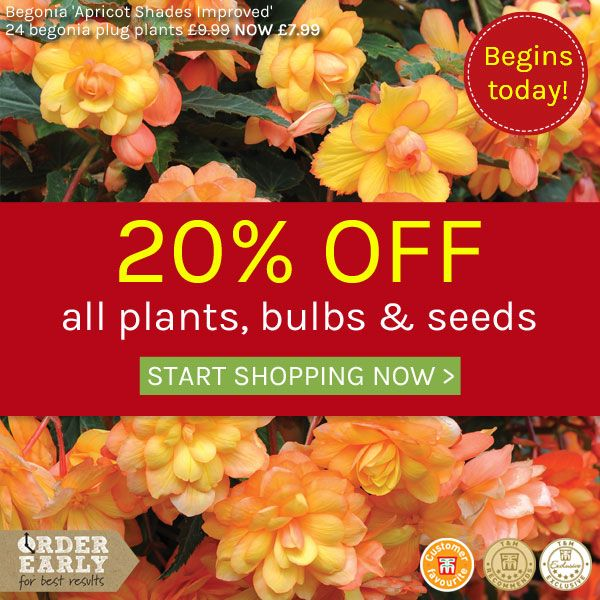 20% off all plants, bulbs and seeds at Thompson & Morgan this weekend (18 Jan 2019 to 23:59:59 on Monday 21 Jan 2019)