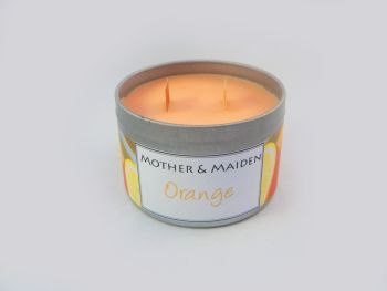 Orange Wood Wick Tin