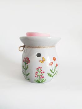Wildflower Design Hand Decorated Grey Oil Burner Flower Wax Warmer