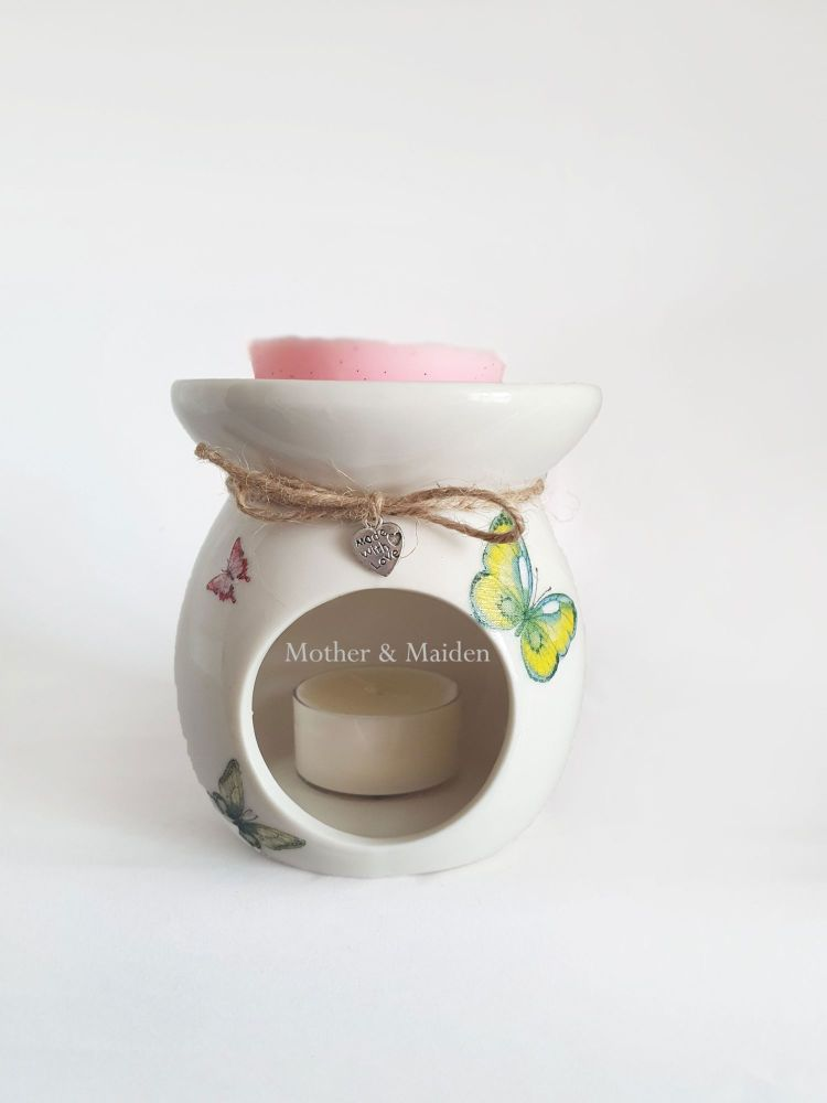 Butterfly Design Hand Decorated Oil Burner Wax Warmer