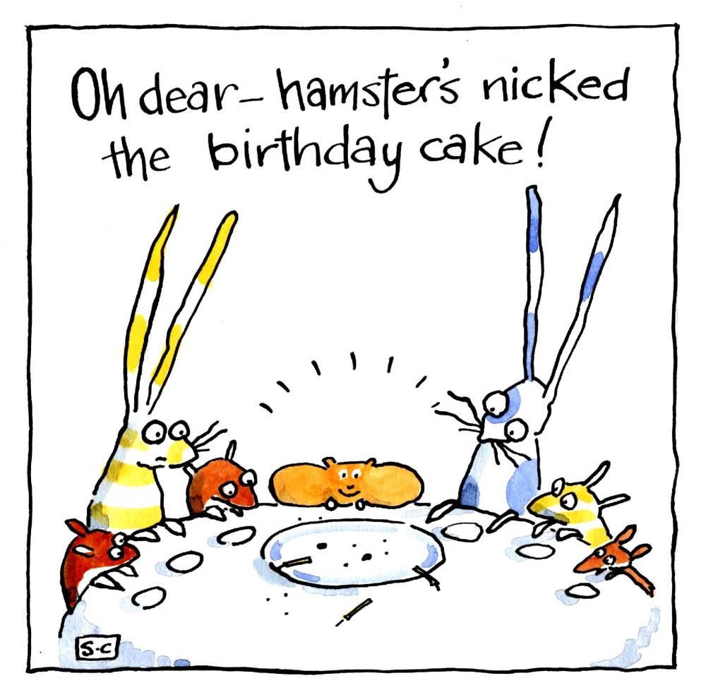 Birthday card with hamster &  rabbits around the table. Caption is Oh Dear