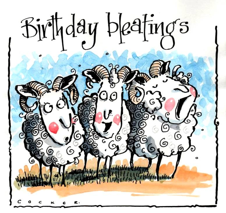 Birthday Card with 3 cartoon sheep with caption Birthday Bleating