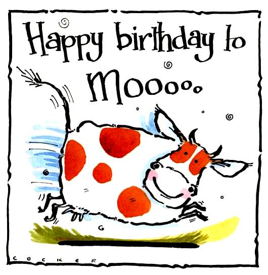 Happy Birthday To Moo card with frolicking spotted cow.
