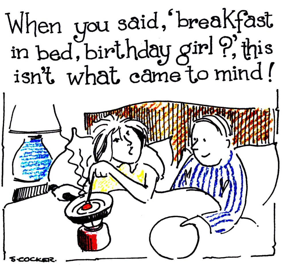 Card shows the Birthday Girl cooking breakfast on stove in bed
