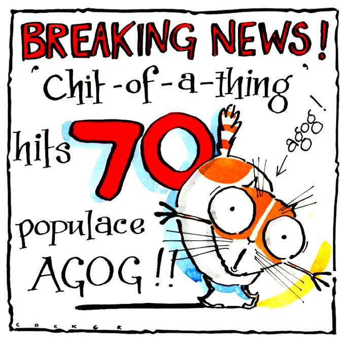 Amusing Cat 70th Birthday card with cartoon cat & caption: 70 Breaking News