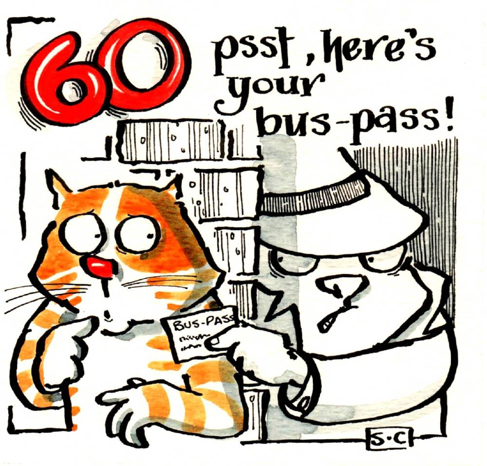 60 th Birthday card with cartoon cat and detective and the caption :60 psst