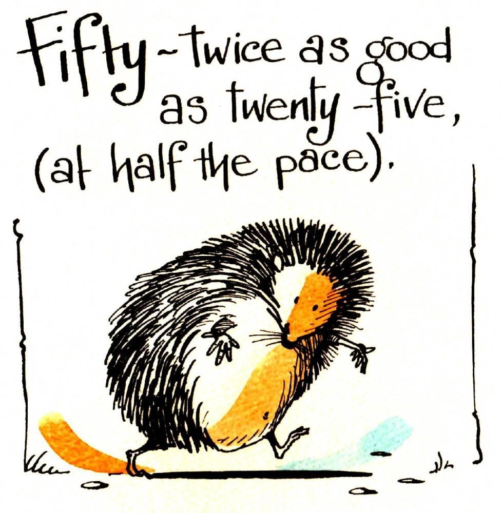Funny Hedgehog 50th Birthday card cartoon hedgehog with the caption:50 Twic