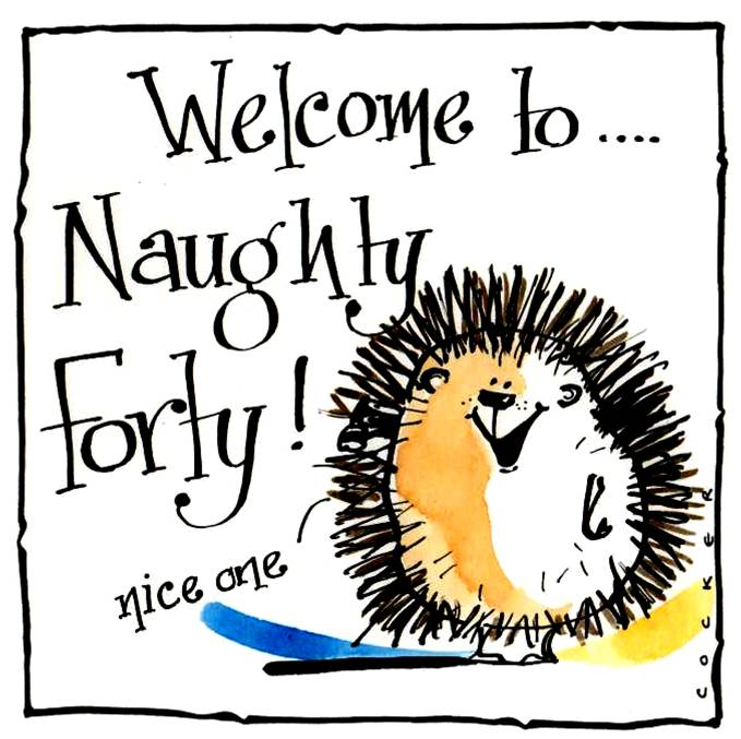 40th Birthday card with Cartoon Hedgehog and caption: Welcome To Naughty Fo