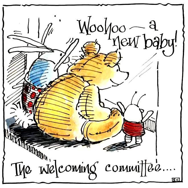 Teddy Bear New Baby Card Cartoon teddy bear with caption: Woohoo - A New Ba