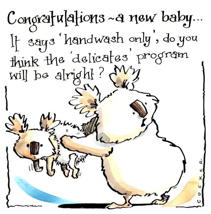 Funny New Baby Card.  Cartoon Koala Mum/Dad & Baby with caption: It Says Ha