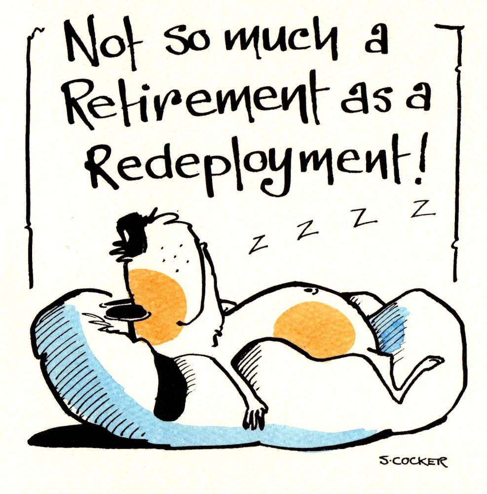 Retirement card with dog lying on cushion caption: Not So Much Retirement a