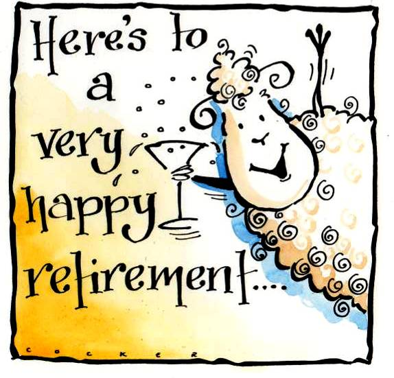 Retirement Card with sheep & caption Here's To A Very Happy Retirement