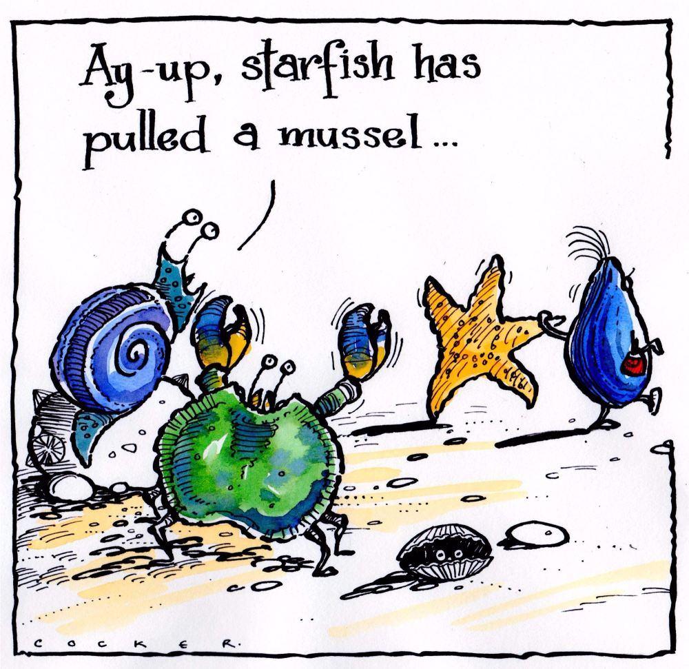Card showing cartoon sea life with caption Starfish Pulled A Mussel