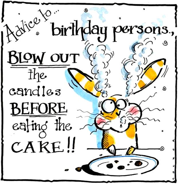 Birthday card with cartoon rabbit with the sentiment Advice to Birthday Per