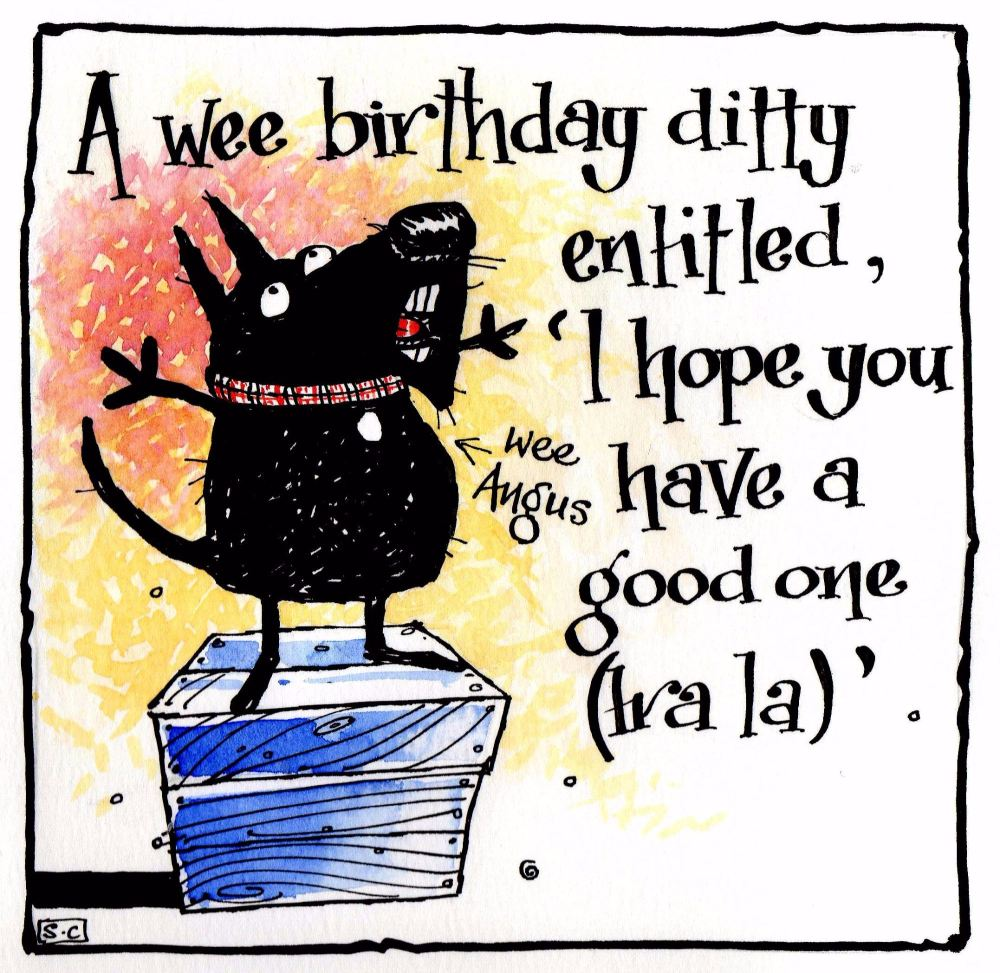 Birthday card with Scottie dog with caption A Wee Birthday Ditty