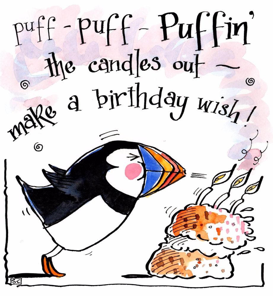 Birthday card with Puffin with caption Make A Birthday Wish