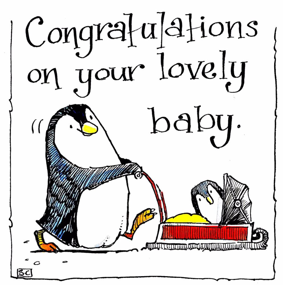 Amusing Penguin & Penguin Baby New Baby Card with the caption Congratulatio