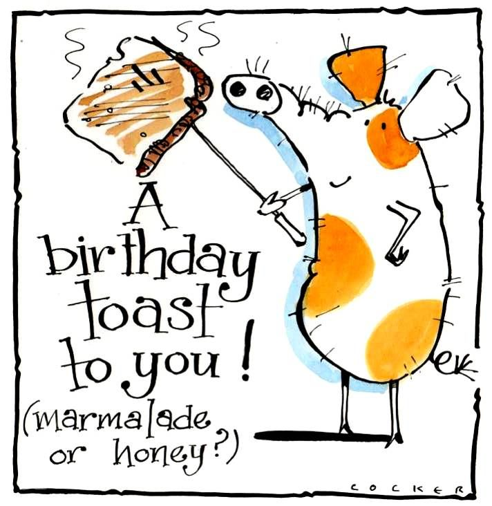 Birthday card with spotted cartoon pig holding a toasting fork.  Sentiment
