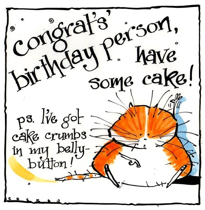 Birthday Card with Ginger Cat with Birthday Cake