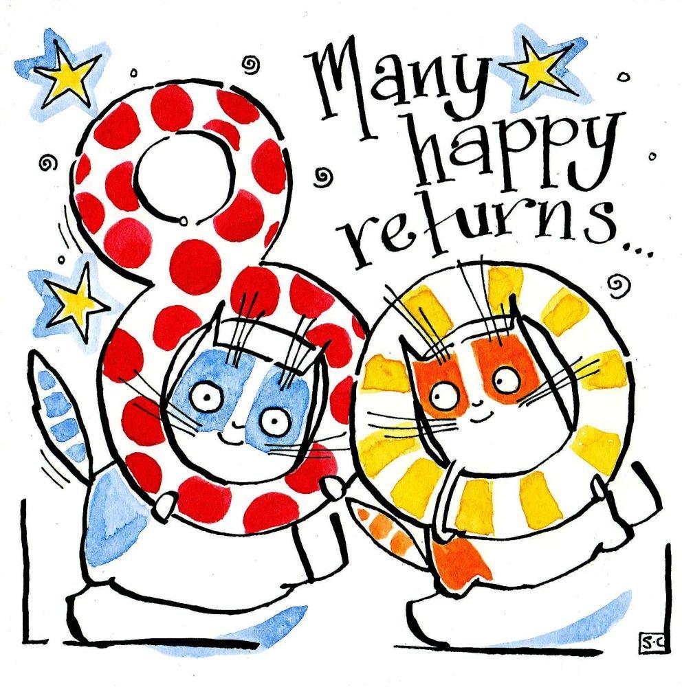 80th Birthday Card 2 cartoon cats with caption 80 Many Happy Returns