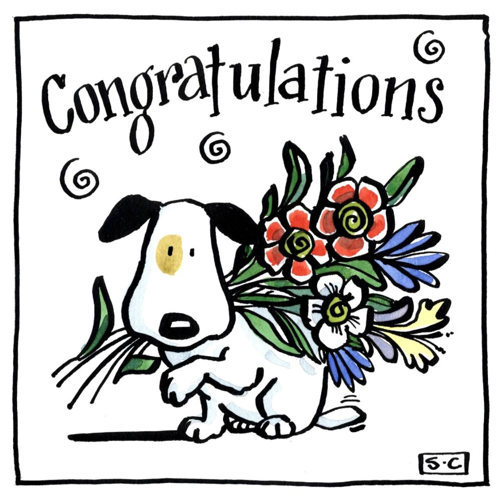 Dog Congratulations Card. Cartoon dog with flowers with captions Congratula