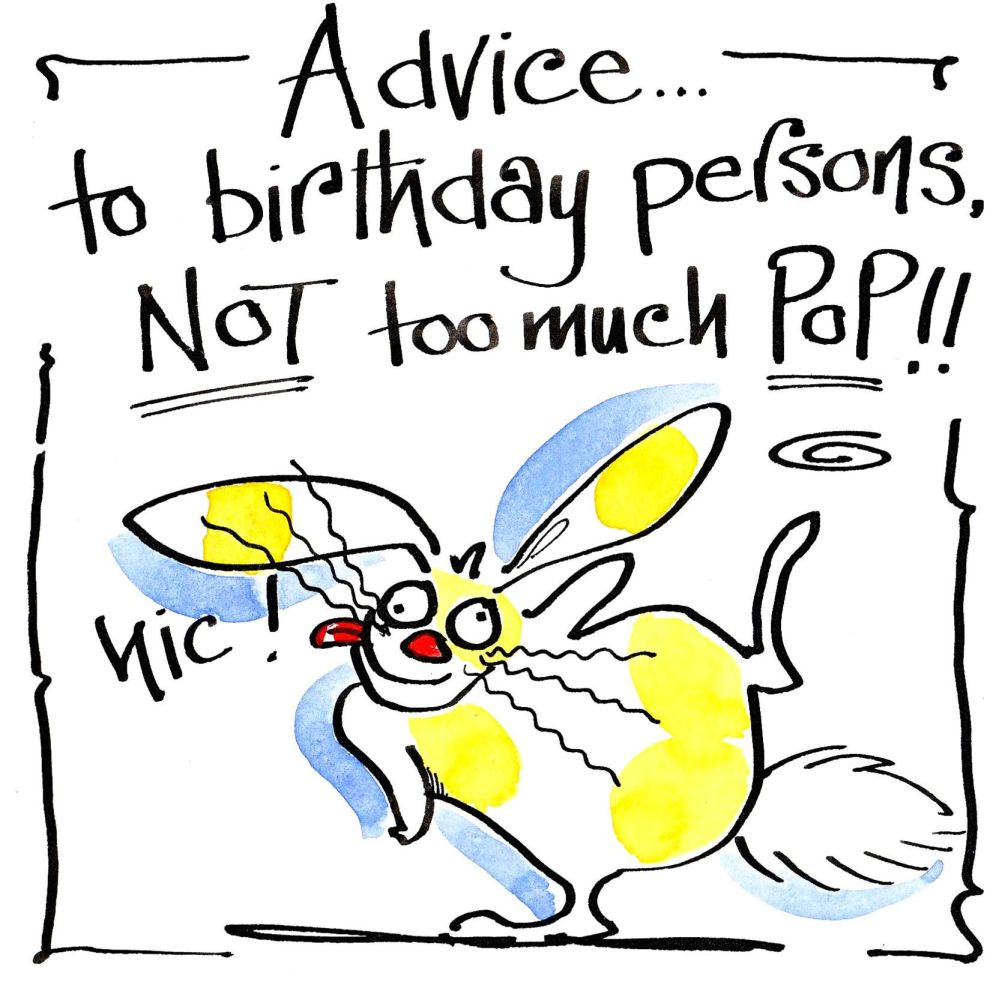 Birthday card with cartoon rabbit with caption Advice To Birthday Persons,