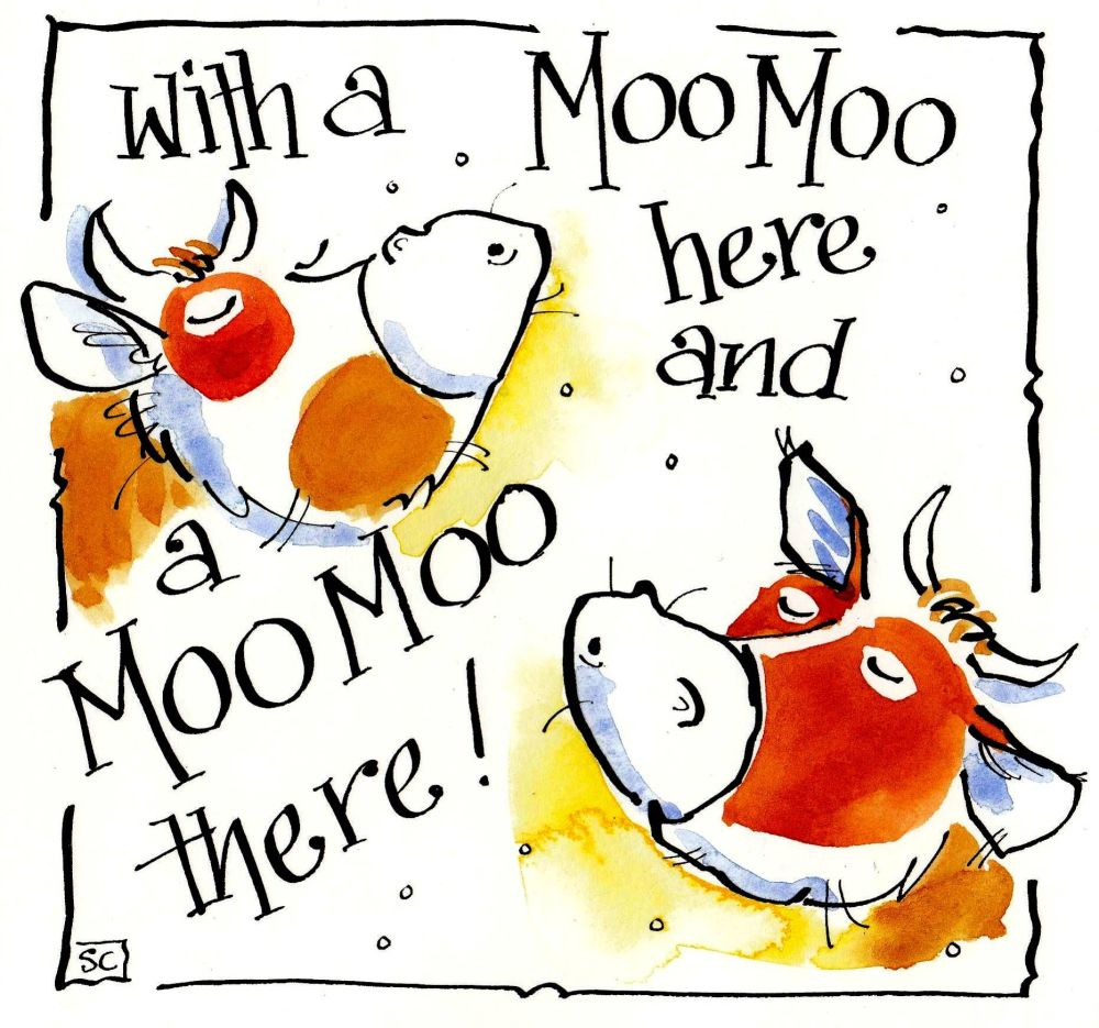 Greeting card with cartoon cows with caption With A  Moo Moo Here