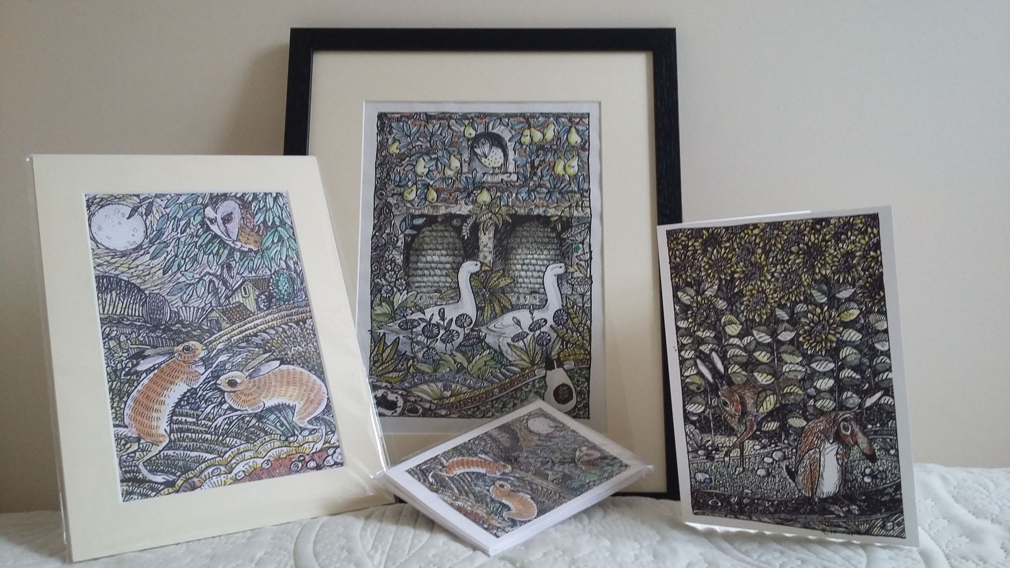 Pen & Ink range including greeting arts and original framed  pictures