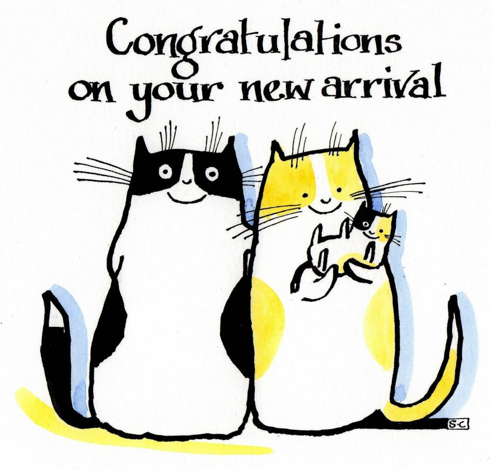 A New Baby card with 2 cats with a kitten.  Caption: Congratulations On You