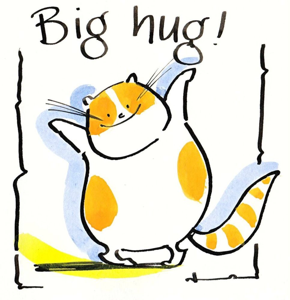 Funny cat card with cartoon cat with caption:Big Hug