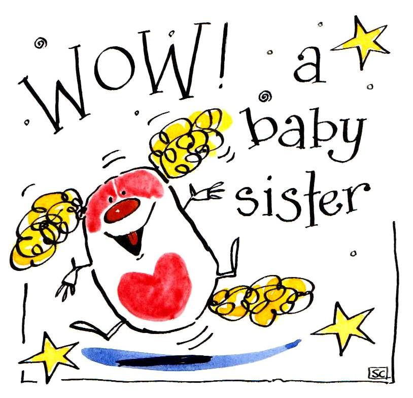 New Baby Card for a new baby sister. Cartoon dog with caption: Wow A Baby S