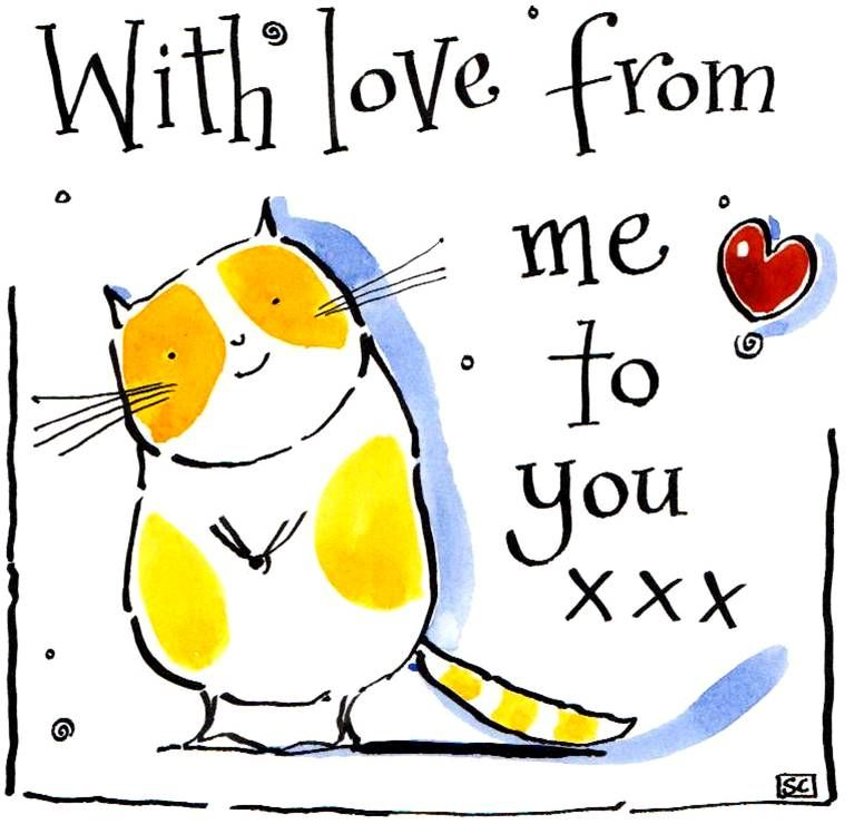Greeting card with cartoon cat & heart caption: With Love From Me To You