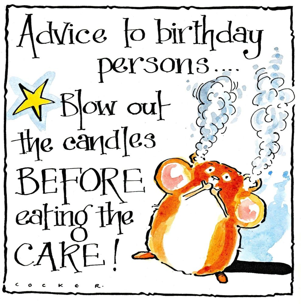 A Birthday Card showing Hamster having eaten lighted birthday candles