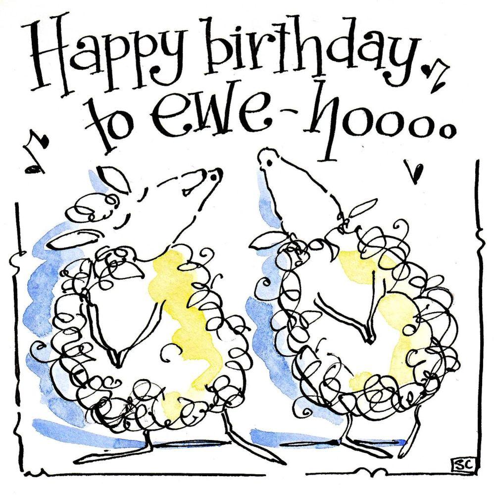 Happy Birthday Sheep card showing two sheep singing Happy Birthday to Ewe H