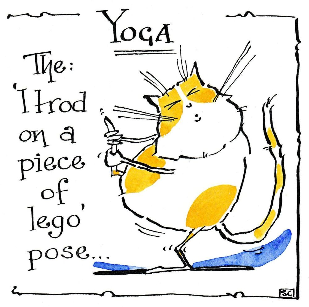 Funny cat card with cartoon cat. Caption: Yoga - The: I Trod On A Piece Of