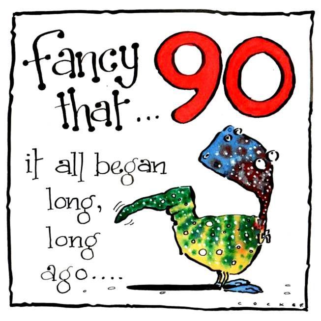 90th Birthday Cartoon Dinosaur with caption Fancy That Fancy That