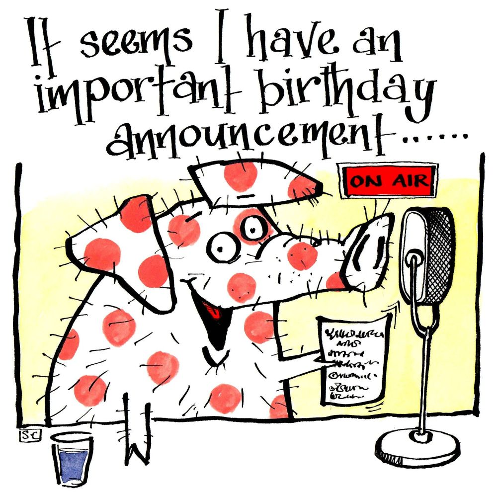 Birthday Card with cartoon pig with radio mic with caption An Important Bir