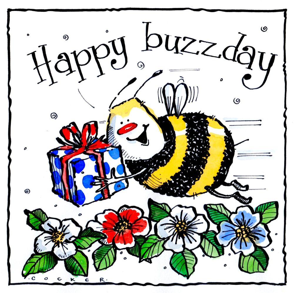 Birthday card shows bee delivering Birthday present with the caption Happy