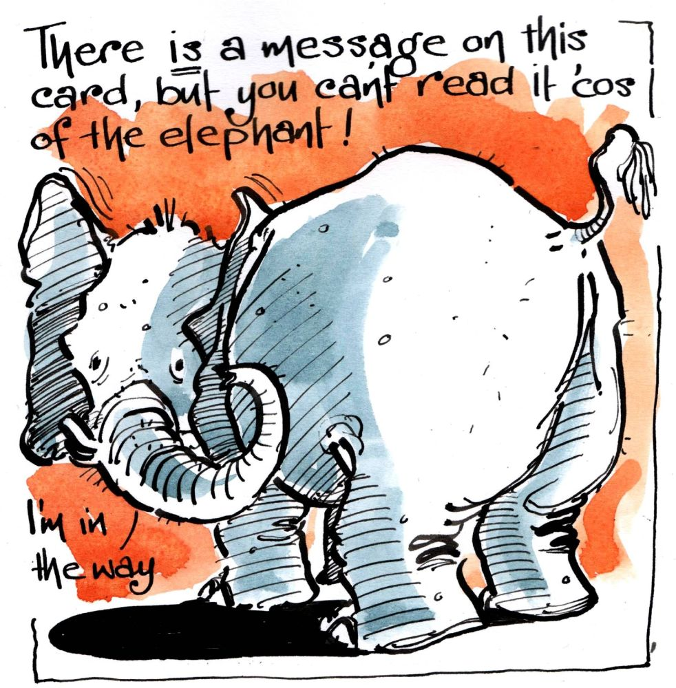 Greeting Card with cartoon elephant with caption There Is A Message On This
