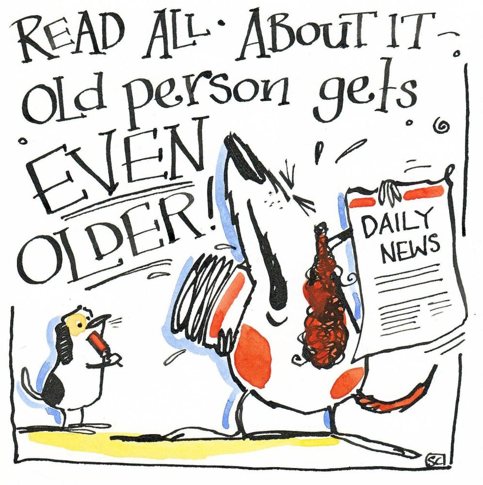 Birthday card with cartoon spaniel caption Read All About It Old Person Get
