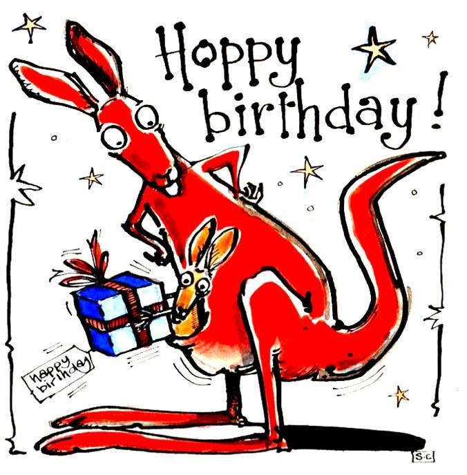 Birthday card with cartoon kangaroo and baby roo with caption Hoppy Birthda