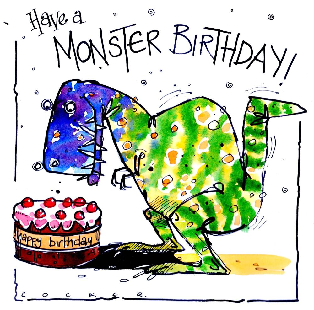 Birthday Card with cartoon monster with Birthday cake with caption Have A M